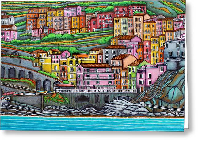 Lisa Lorenz Paintings Greeting Cards - Colours of Manarola Greeting Card by Lisa  Lorenz