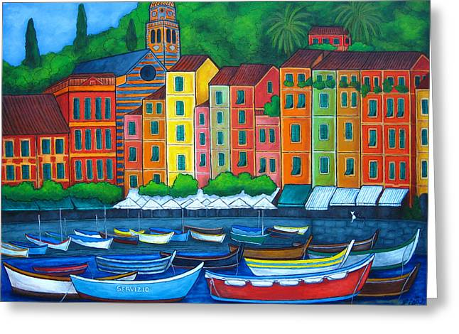 Portofino Italy Greeting Cards - Colours of Portofino Greeting Card by Lisa  Lorenz