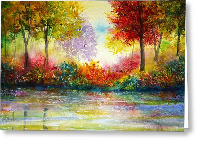 Kinkade Greeting Cards - Colours of Time Greeting Card by Ann Marie Bone