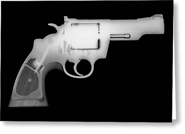 357 Greeting Cards - Colt 357 Magnum Reverse Greeting Card by Ray Gunz