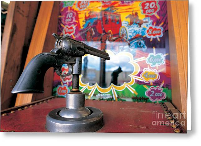 Skill Game Greeting Cards - Colt Gun In Antiques Shop Greeting Card by Adam Sylvester