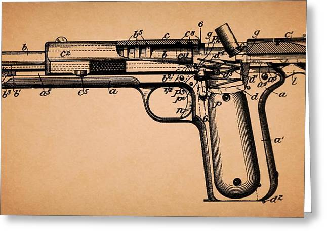 Pistol Drawings Greeting Cards - Colt Model Pistol 1902 Patent Greeting Card by Mountain Dreams