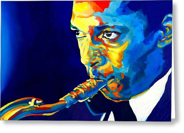 Bandleader Greeting Cards - Coltrane-Blu Greeting Card by Vel Verrept