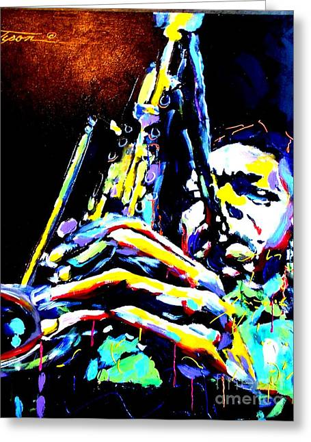 Coltrane Mixed Media Greeting Cards - Coltrane Greeting Card by Jonathan Tyson