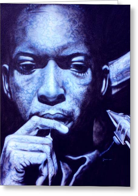 Enhanced Paintings Greeting Cards - Coltrane Greeting Card by Mike Underwood