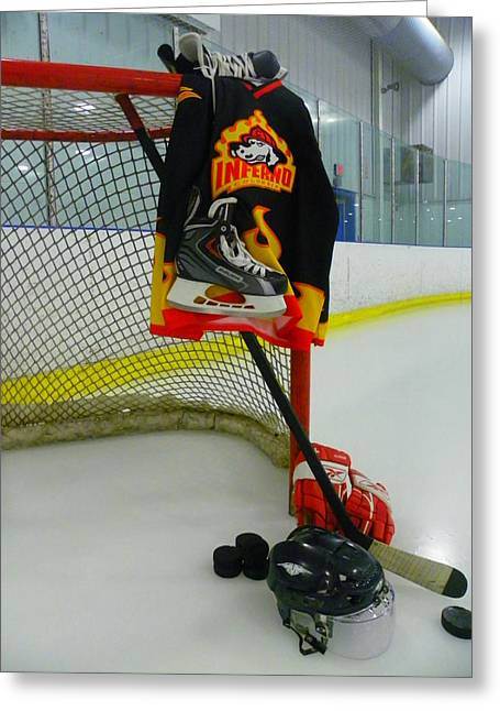 Skate Greeting Cards - Columbia Inferno Away Hockey Jersey Greeting Card by Lisa Wooten
