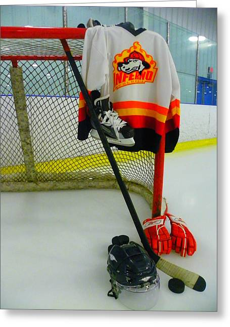 Skates Greeting Cards - Columbia Inferno Away Jersey Greeting Card by Lisa Wooten