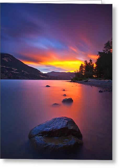 Hood River Oregon Greeting Cards - Columbia Morning Fire Greeting Card by Darren  White