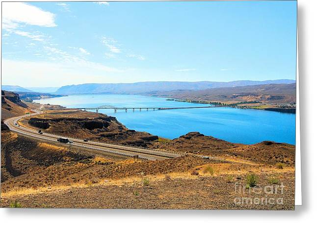 Seattle Photographs Greeting Cards - Columbia River from Overlook Greeting Card by Janette Boyd