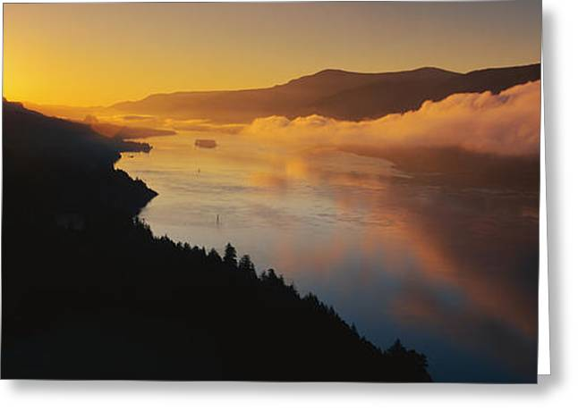 Reflecting Water Greeting Cards - Columbia River Gorge Or Greeting Card by Panoramic Images
