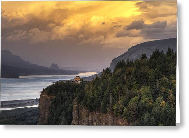 Observatory Greeting Cards - Columbia River Gorge Vista Greeting Card by Mark Kiver