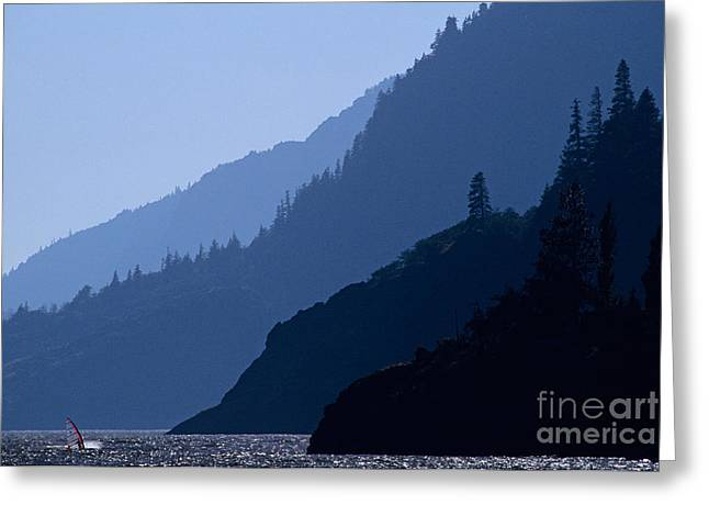 Sailboarding Greeting Cards - Columbia River Windsurfing Greeting Card by Jim Corwin