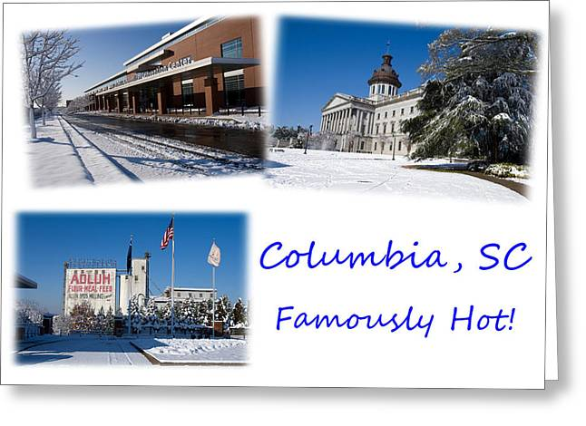 Brrrr Greeting Cards - Columbia South Carolina Famously Hot Blue White Greeting Card by Joseph C Hinson Photography
