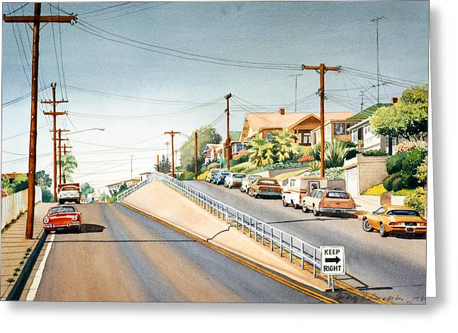 Southern Scene Greeting Cards - Columbia Street Middletown Greeting Card by Mary Helmreich