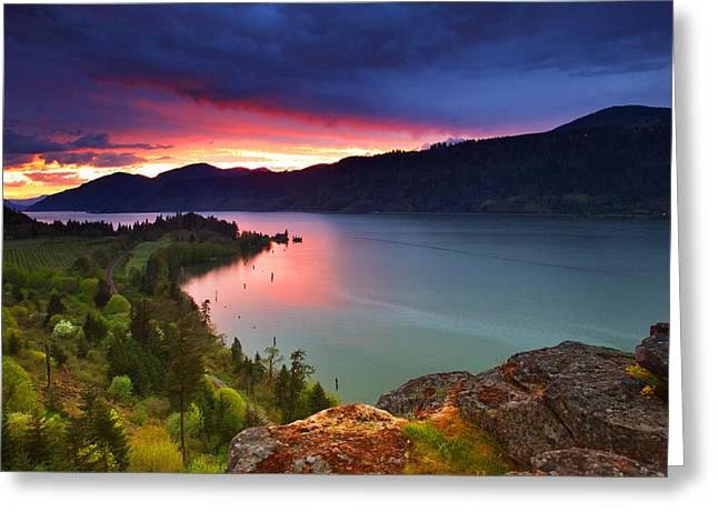 Hood River Greeting Cards - Columbia Sunset Greeting Card by Darren  White