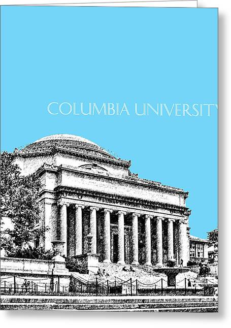 Library Greeting Cards - Columbia University - Sky Blue Greeting Card by DB Artist