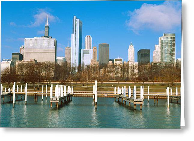 Yacht Club Greeting Cards - Columbia Yacht Club With Buildings Greeting Card by Panoramic Images
