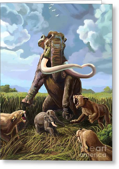 Tiger Illustration Greeting Cards - Columbian Mammoth And Saber-toothed Cats Greeting Card by Spencer Sutton