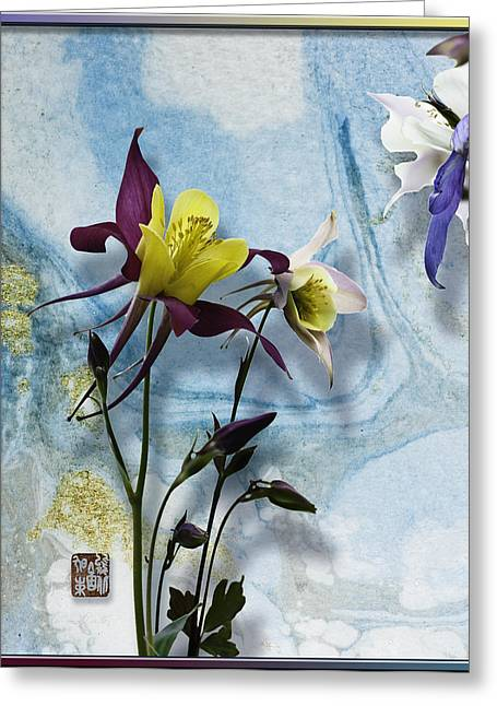 Blank Greeting Cards Mixed Media Greeting Cards - Columbine blossom with suminagashi ink Greeting Card by Peter v Quenter