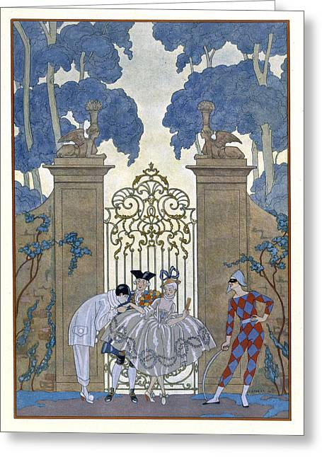 Visitors Paintings Greeting Cards - Columbine Greeting Card by Georges Barbier