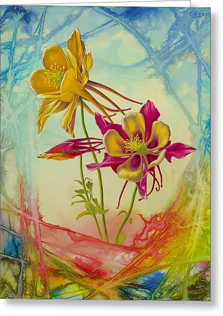 Flowers Greeting Cards - Columbine in Abstract 02        Greeting Card by Paul Krapf