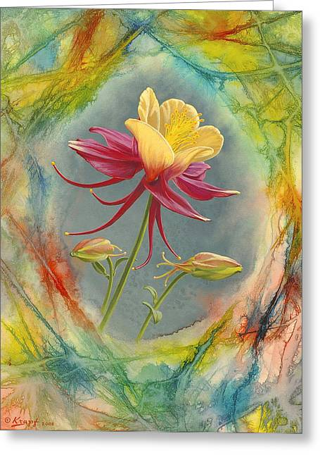 'columbine In Abstract' Greeting Card by Paul Krapf
