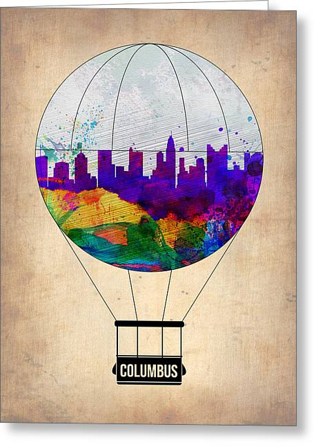 Columbus Air Balloon Greeting Card by Naxart Studio