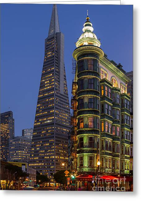 Downtown San Francisco Greeting Cards - Columbus and Transamerica Buildings Greeting Card by Jerry Fornarotto