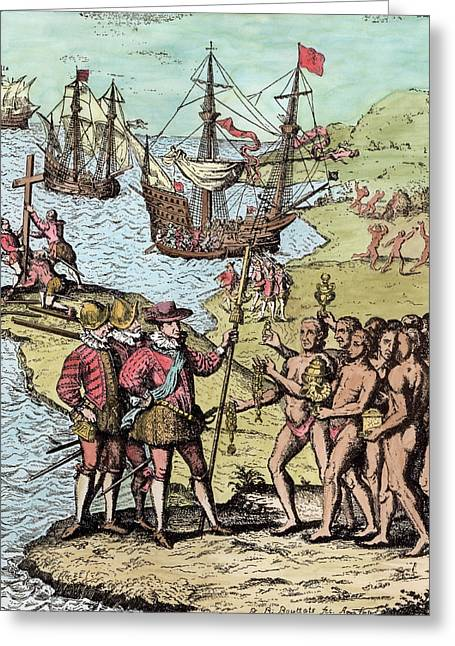 Antilles Greeting Cards - Columbus At Hispaniola, From The Narrative And Critical History Of America, Edited By Justin Greeting Card by Theodore de Bry