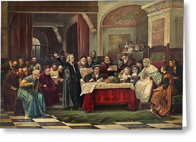 I Ask Greeting Cards - Columbus at Spains royal court, May Greeting Card by Science Photo Library
