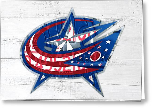 Columbus Greeting Cards - Columbus Bluejackets Retro Hockey Team Logo Recycled Ohio License Plate Art Greeting Card by Design Turnpike