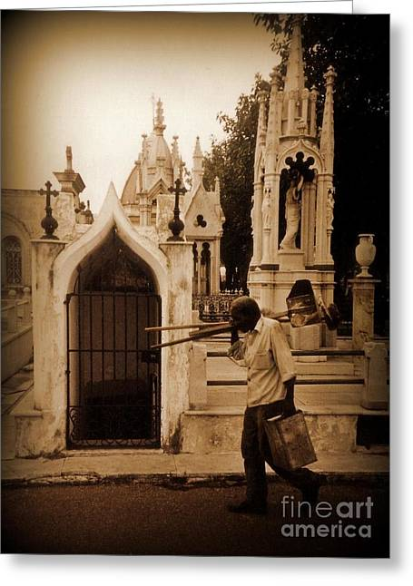 Artist Working Photo Photographs Greeting Cards - Columbus Cemetary Havana Greeting Card by John Malone