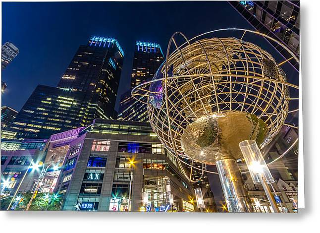 Tone Mapped Greeting Cards - Columbus Circle Globe and Time Warner Towers at Night Greeting Card by Val Black Russian Tourchin