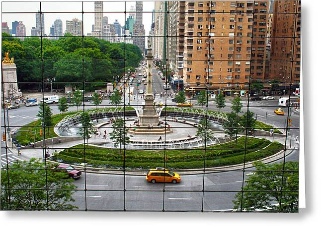 Nyc Taxi Greeting Cards - Columbus Circle Greeting Card by Mitch Cat