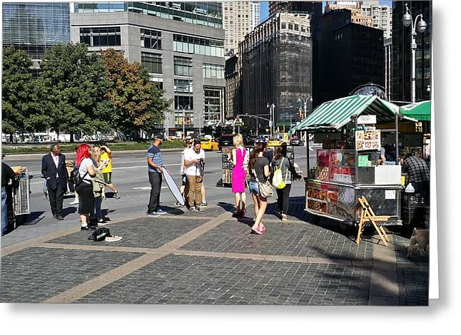 Streetview Greeting Cards - Columbus Circle Model Shoot Greeting Card by Mark Victors