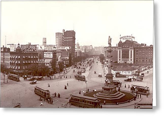 1907 Digital Greeting Cards - Columbus Circle New York 1907 Greeting Card by Unknown