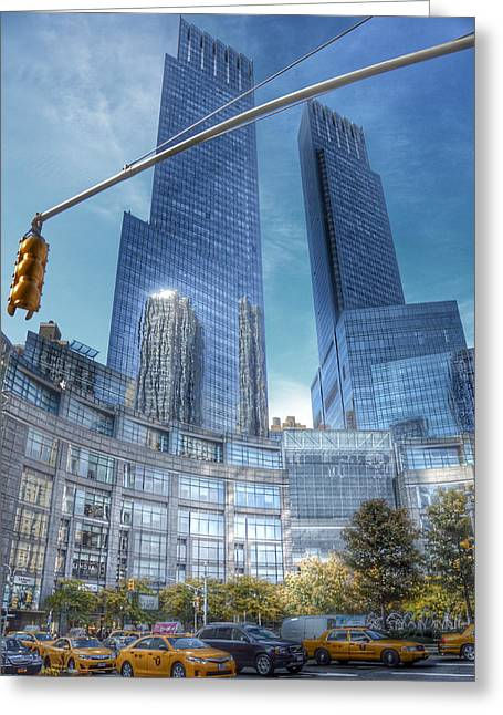 Warner Park Greeting Cards - New York - Columbus Circle - Time Warner Center Greeting Card by Marianna Mills