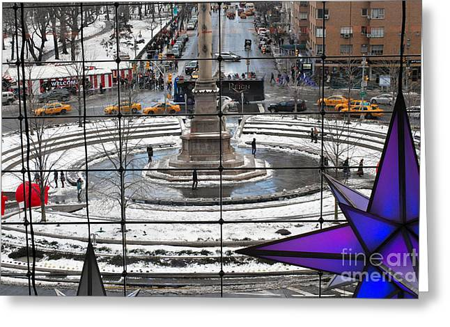 Columbus Circle View Greeting Card by Andrea Simon