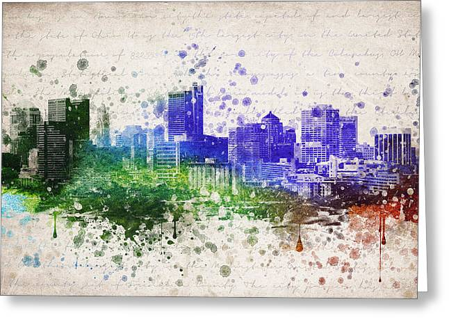 Columbus Greeting Cards - Columbus in Color Greeting Card by Aged Pixel