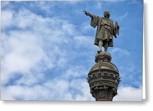Famous Person Greeting Cards - Columbus Monument in Barcelona Greeting Card by Artur Bogacki