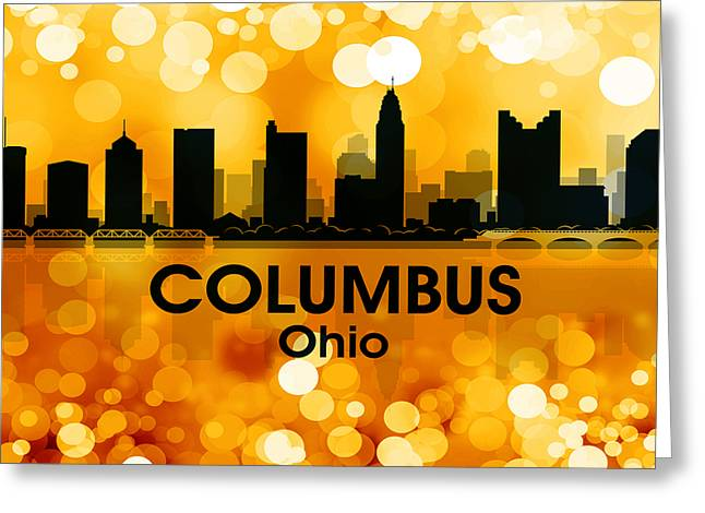 Concrete Jungle Mixed Media Greeting Cards - Columbus OH 3 Greeting Card by Angelina Vick
