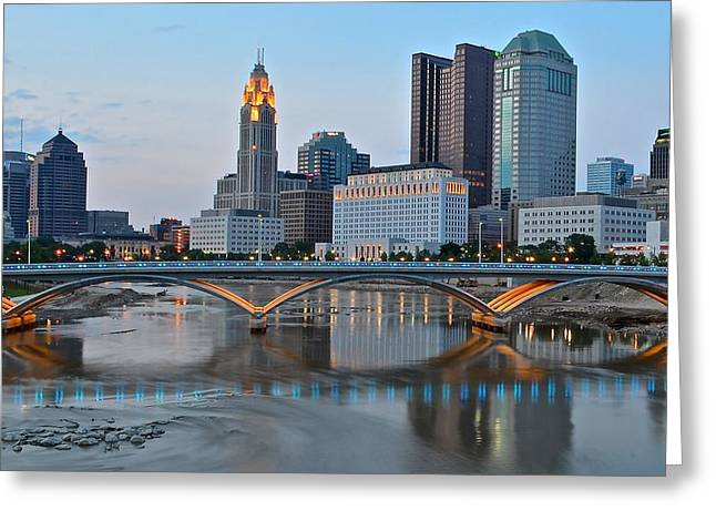 Evening Lights Greeting Cards - Columbus Ohio as the Lights Come On Greeting Card by Frozen in Time Fine Art Photography