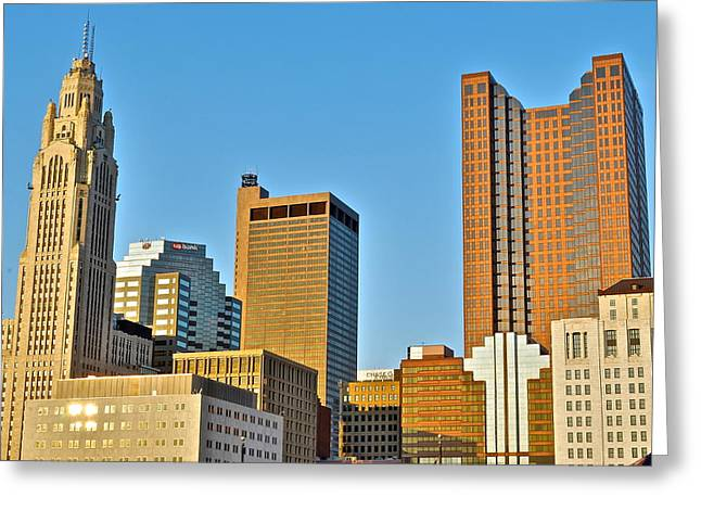 Nicklaus Photographs Greeting Cards - Columbus Ohio from Below Greeting Card by Frozen in Time Fine Art Photography