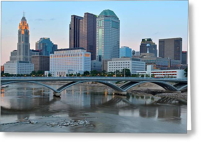National Championship Greeting Cards - Columbus Ohio at Dusk Greeting Card by Frozen in Time Fine Art Photography