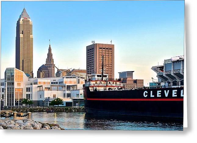 Municipality Greeting Cards - Cleveland Ohio Panorama Greeting Card by Frozen in Time Fine Art Photography