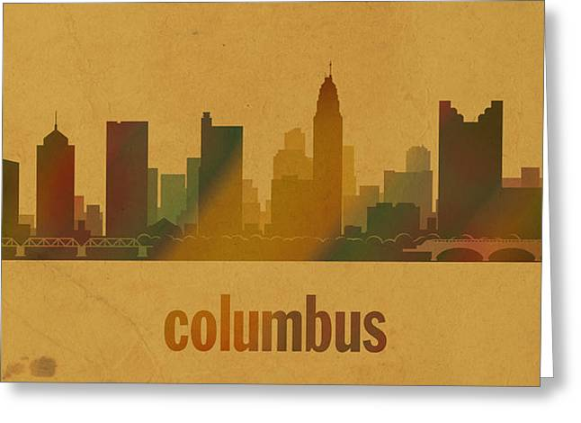 Columbus Greeting Cards - Columbus Ohio City Skyline Watercolor On Parchment Greeting Card by Design Turnpike