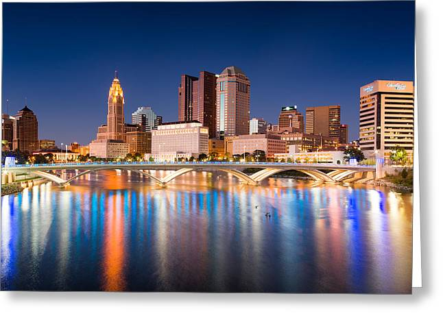 Main Street Greeting Cards - Columbus Ohio Greeting Card by Emmanuel Panagiotakis