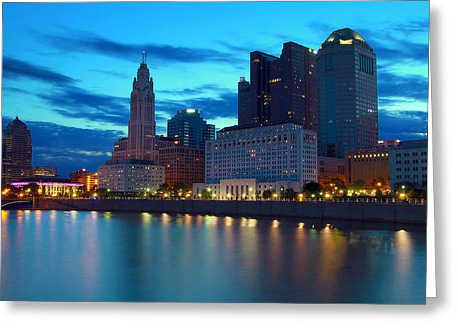 David Yunker Greeting Cards - Columbus Ohio Panorama Greeting Card by David Yunker