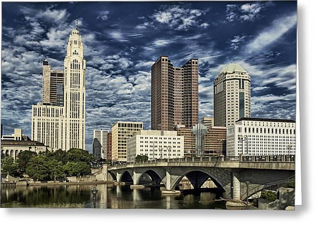 Columbus Ohio Skyline Greeting Card by Mountain Dreams