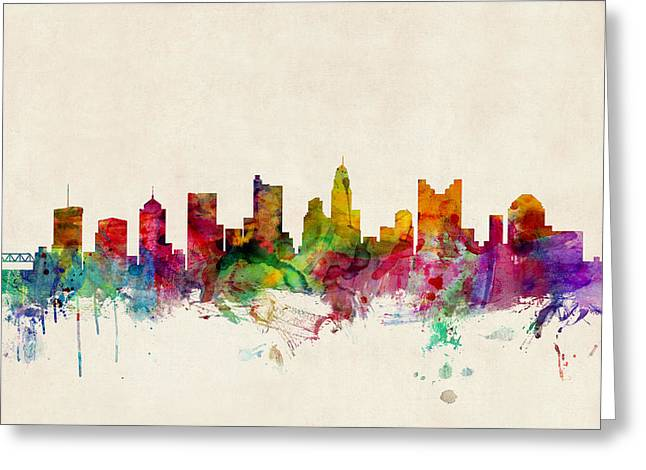 Urban Watercolour Greeting Cards - Columbus Ohio Skyline Greeting Card by Michael Tompsett